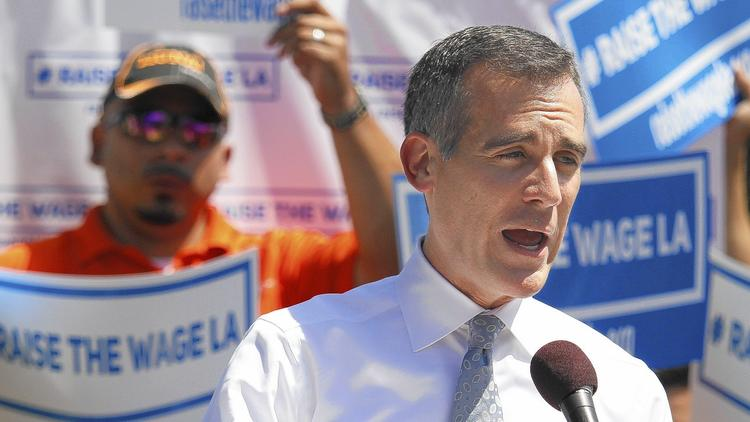 Garcetti announces his plan for a new minimum wage this Labor Day weekend. | LA Times