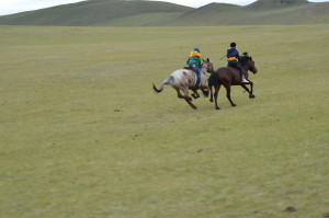 Mongolian boys participate in the horse race portion of Naadam, a traditional holiday that celebrates the Mongols' nomadic roots.